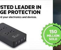 【送料無料¥1318】電源タップ(ACコンセントx4 USBポートx4)最大4.2A 急速充電 雷ガード 過負荷保護 12ヶ月保証